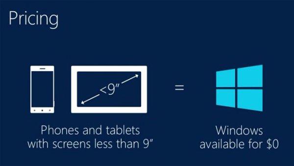 Windows gratuit pour les terminaux de moins de 9 pouces !